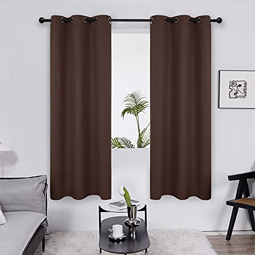 Deconovo Energy Saving Grommet Blackout Curtains for Bedroom - Thermal Insulated(Chocolate, 42x63 in, 2 Panels)