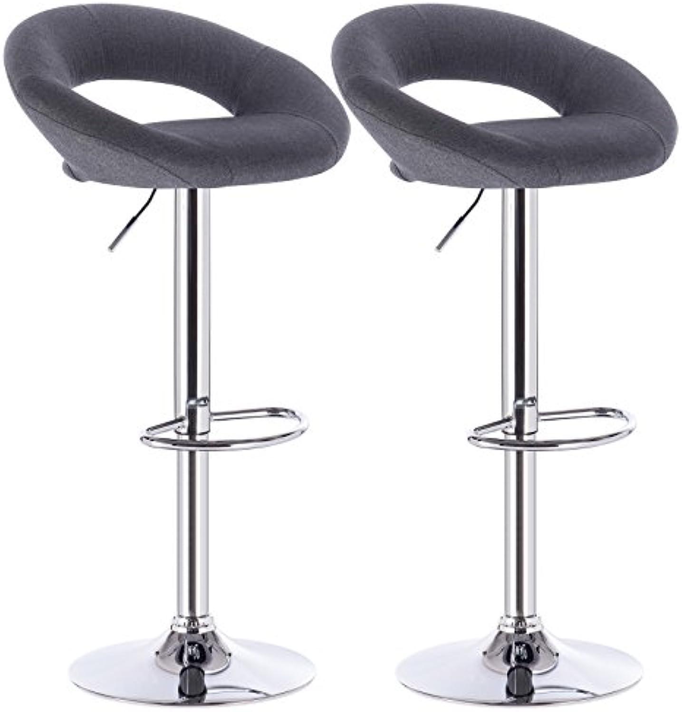 WOLTU Design 2 x Barhocker Tresenhocker mit Griff, 2er Set, stufenlose Hhenverstellung, verchromter Stahl, Antirutschgummi, Stoffbezug Leinen, gut gepolsterte Sitzflche, Dunkelgrau, BH68dgr-2