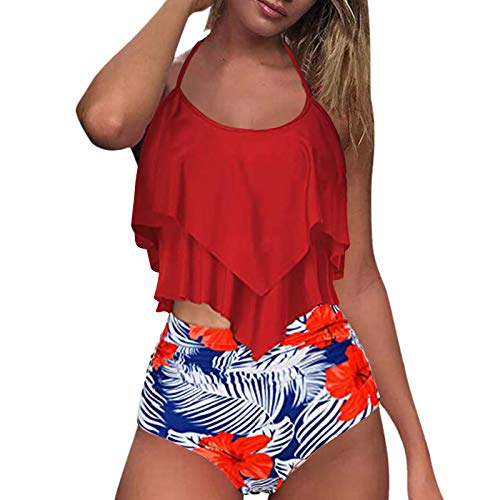 Swimsuits for Women Two Piece Bathing Suits Ruffled Flounce Top with High Waisted Bottom Bikini Set Red