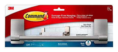 Command by 3M 9' Towel Bar, Stylish Design, Easy On, Easy Off, (BATH41-SN-ES), Satin Nickel