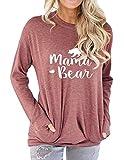Freemale Womens Mama Bear Sweatshirt Long Sleeve Pullover Casual Pocket Blouses Brick Red