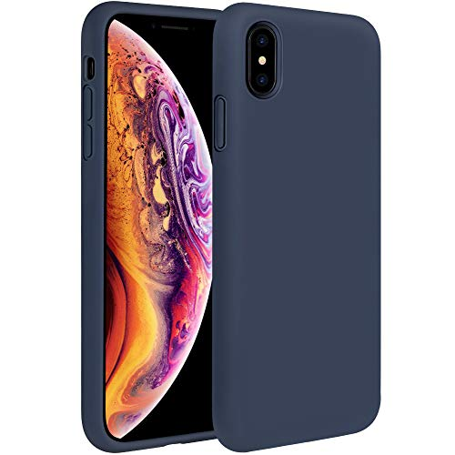 Miracase Liquid Silicone Case Compatible with iPhone Xs Max 6.5 inch (2018), Gel Rubber Full Body Protection Shockproof Cover Case Drop Protection Case (Navy Blue)