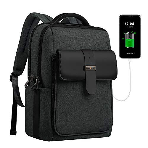 Beschoi - Mochila para portátil de 15,6 pulgadas, desmontable, grande, con puerto de carga USB, resistente al agua, al aire libre, antirrobo, para colegio, para hombres y mujeres