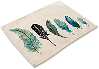 1Pcs Colorful Feather Pattern Placemat Coaster Cotton Linen Kitchen Pads Dining Table Mats Western Mat 42 * 32cm Home Deco...