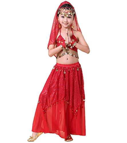LaoZan Costume da Danza del Ventre per Bambini Moneta Abbigliamento di Prestazioni Ragazza Gonna Vestito Dancewear (Rosso(5Pcs))