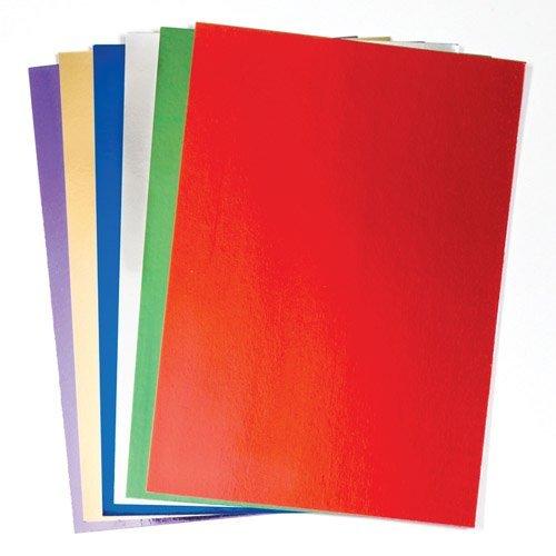 Baker Ross Biglietti A4 Metallici (Confezione da 20) di Carta da 250 g/mq per Scrapbooking e Decorazione per Bambini, Assortiti, unità