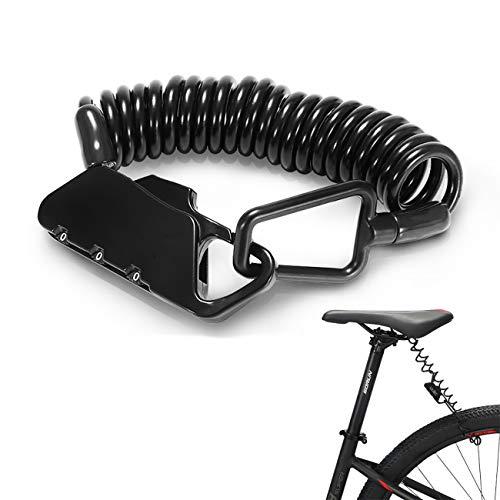 RAYTHEONER Candado de Bicicleta, Cable antirrobode Bicicleta, Cerradura de combinación de 3 dígitos reiniciable, Candado de Cable con Memoria de Forma, para Scooter, Cochecito, Patinete, Casco