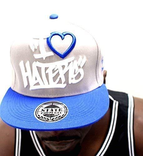 I love haters Coupelles caps Casquette de baseball à visière plate homme & Bonnet pour femme Gris/Bleu