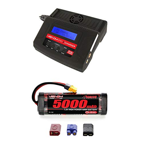 Venom 7.2V 5000mAh 6-Cell NiMH Battery with Universal Plug System and Venom Pro Charger 2 LiPo and NiMH Battery Charger Combo