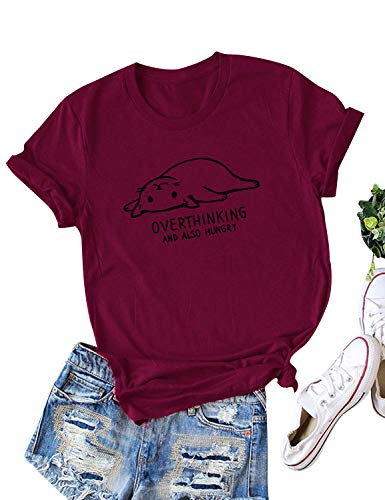 ZJP Women Short Sleeve Cat Print Tee Not Today Solid Color Graphic Print T-Shirt Tops Wine Red