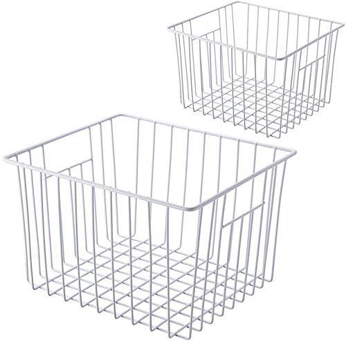 SANNO Draht Aufbewahrungskorb Gefrierschrank, Metall Haushalt Storage Organizer Container Container Container mit integrierten Griffen für Speisekammer-Regal, Küche, Badezimmer, weiss, 2er Packung