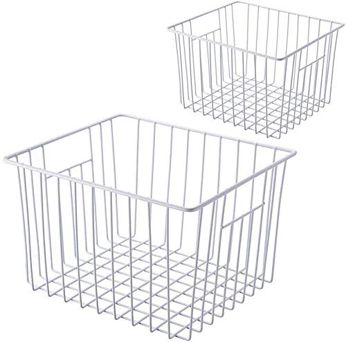 SANNO Freezer Wire Storage Organizer Baskets, Household Refrigerator Bin with Built-in Handles for Organizing Cabinets, Pantry, Closets, Bedrooms - Set of 2