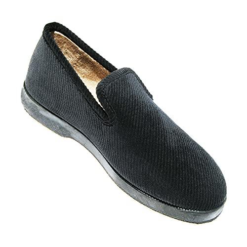KirktonBlack - Zapatillas de terciopelo para hombre, Negro (Negro ), 39 EU