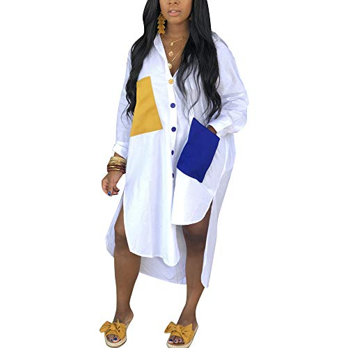 Women's Sexy T-Shirt Dress V Neck Button Down Loose Blouse Tops Casual Dresses with Pocket White 2XL