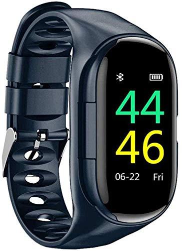 ZHENAO 2 en 1 Sports Smartwatch Auricular Impermeable Trucidador de Fitness Bluetooth 5.0 Tasa de Corazón Monitor de Sueño Pulsera Inteligente con Carga Magnética-Azul Desgaste diar
