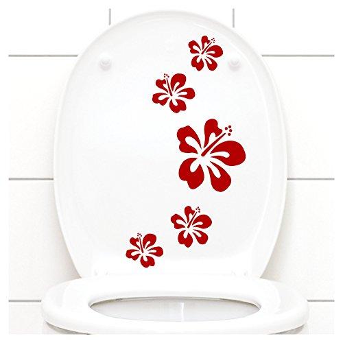 Grandora Klodeckel Aufkleber Hibiskusblüten I rot 5er Kreativset I Bad Blüten Blumen Hibiskus Aufkleber Wandaufkleber Wandsticker W916