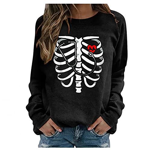 SHOBDW Mujer Suéter 2021 El Nuevo Halloween Pullover Calabaza Patrón Divertido Camiseta Mujer Cuello Redondo Moda Suelto Sudadera Tallas Grandes Baratas Otoño e Invierno(Negro,XXL)