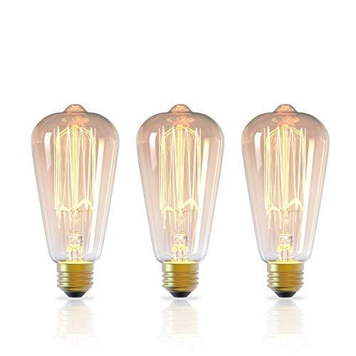 DGE - Lote de 3 bombillas E27 de 40 W Edison, regulables, ST64 2300 K, decorativas, bombilla incandescente retro, estilo para iluminación nostálgica y casa, bares, café, restaurante