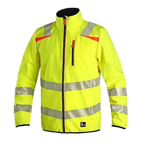 Canis CXS Hove Arbeitsjacke Herren reflektierend Warnjacke Jacke Schutz für Maler Monteur Gärtner Mechaniker Taschen Damen Mantel Schutzkleidung; gelb; (L)
