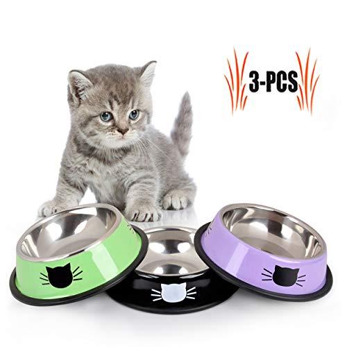 Legendog Comida Gato, 3 Unidades, Acero Inoxidable Antideslizante Gatos napf | Juego de Comida para Gato | Comedero para Animales Gato, Bol de Comida Gato | Agua Forro Cuenco