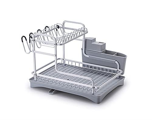 FGHJ Estante De Secado De Platos De Aluminio Organizador De Cocina Escurridor Soporte De Placa Estante De Almacenamiento De Cubiertos Fregadero Estante De Secado De Platos (Color : Light Grey Plate)