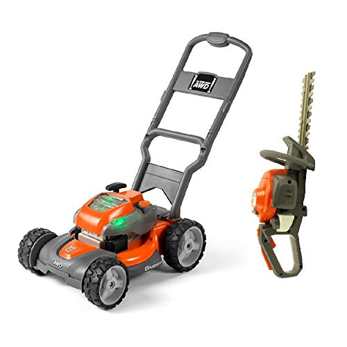 Husqvarna Battery-Powered Toy Lawn Mower and Battery Operated Toy Hedge Trimmer