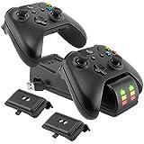 Ponkor Estación de Carga del Controlador Xbox One, Cargador Mando Xbox con 2 Baterías Recargables...