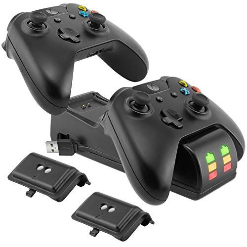Ponkor Estación de Carga del Controlador Xbox One, Cargador Mando Xbox con 2 Baterías Recargables NI-MH 2200mAh para Xbox One / Xbox One S / Xbox One X / Xbox Elite,Negro
