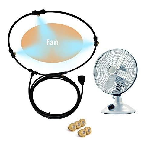 Kit de ventilador de nebulización para exteriores para sistema de refrigeración por nebulización de agua Misters Mister Fan Line y 5 boquillas de nebulización de latón para enfriar patios exteriores
