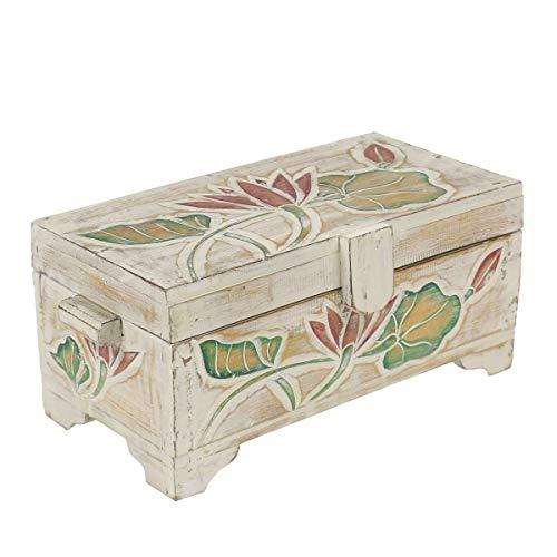 Oriental Galerie Truhe Holzkiste Holztruhe Schatztruhe Kiste Box Palmenholz Holzbox Lotus Schnitzereien Shabby Used Look Weiß 43 cm