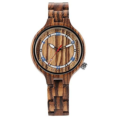 GIPOTIL Reloj de Madera Vintage para Mujer, diseño de Esfera Circular Redonda única, Reloj de Pulsera de Madera Completa, Reloj de Pulsera de Cuarzo para Mujer y niña, Reloj de Pulsera para Mujer,