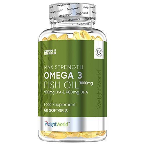 Omega 3 Fish Oil 3000mg - 60 Softgel Capsules - 990MG EPA & 660MG DHA Cod Liver Oil Tablets Supplement, Natural Liquid High Strength Formula, Good for Skin, Joint Fuel, Eyes & Heart in Men & Women