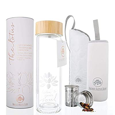 The Lotus Glass Tea Tumbler with Strainer & Infuser Basket for Loose Leaf Tea. Leak-Proof Lid. BPA Free. Double-Walled Glass Travel Tea Cup. 15 ounces from Sacred Lotus Love
