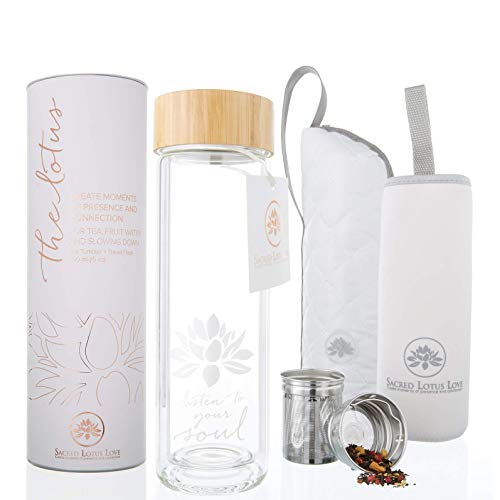 The Lotus Glass Tea Tumbler Travel Mug with Strainer + Tea Infuser Bottle for Tea, Coffee, Fruit Infusions. Double Walled Glass. Tea Cup with Soulful Design, Beautifully Packaged + Gift Ready…