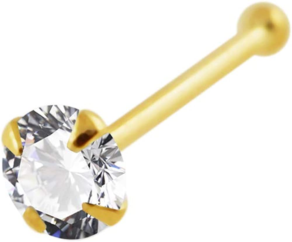 9 Karat Yellow Gold Claw Set Round CZ Stone 22 Gauge Ball End Nose Stud Piercing Jewelry