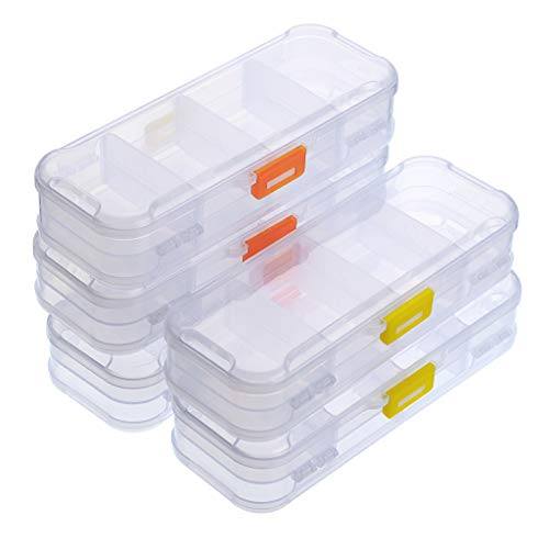BTSKY Clear Double Deck School Pencils Box- Stationery Box Adjustable Small Pencil Case Organizer Durable Plastic Pen Holder Box with 4 compartments for Small School Supplies Organization(5 Pack)