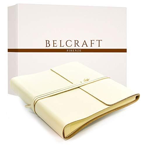 Belcraft Dolci Fotoalbum Leder, Handgearbeitet in klassischem italienischem Stil, Geschenkschachtel inklusive Elfenbeinfarben