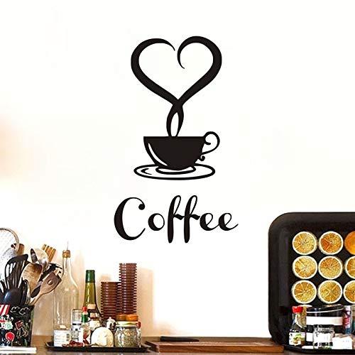 sanzangtang Koffie beker met hartvormige vinyl applique muur sticker restaurant keuken verwijderbare behang huisdecoratie muur art decal