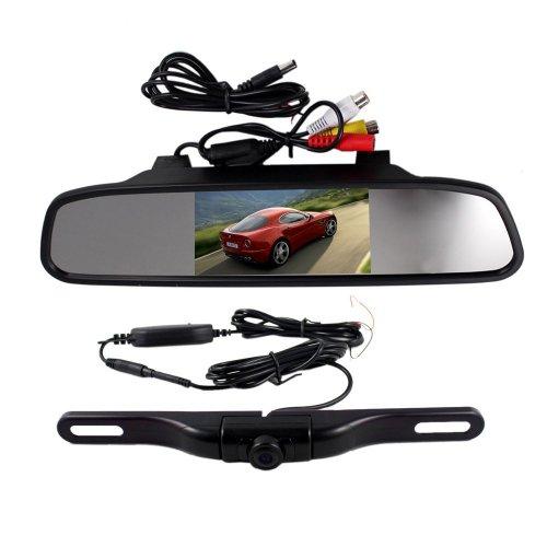 BW® 10,9 cm Écran TFT LCD rétroviseur Moniteur et caméra vision nocturne vue voiture sans fil HD Noir