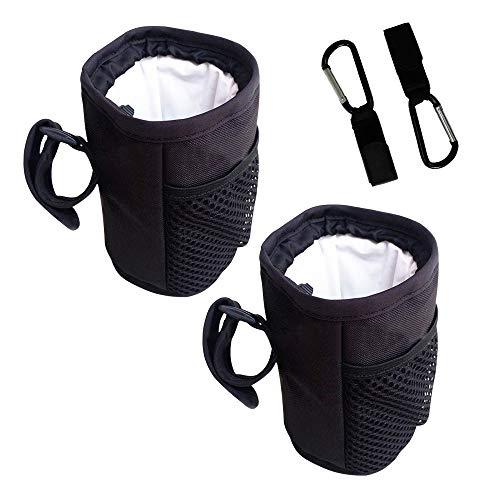 SITAKE 2Pcs Porta Botellas de Agua con 2Pcs Ganchos para Correr, Senderismo, Ciclismo,Camping, Caza - Negro