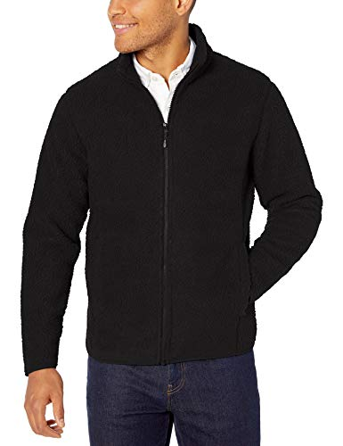 Amazon Essentials Men's Sherpa Fleece Full-Zip Jacket, Black, Small