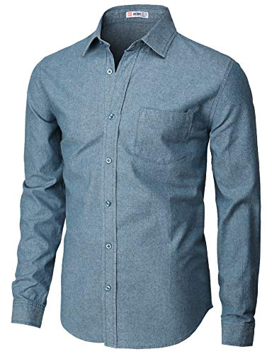 H2H Mens Casual Slim Fit 100 Oxford Mandarin Collar Button-Down Shirt with Pocket Navy US XS/Asia M (KMTSTL0501)