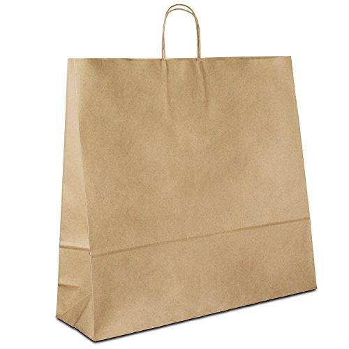 50 x Papiertragetaschen braun 54+15x49 cm | stabile Papiertüten | Paper Bag Kordelhenkel | Papiertaschen Groß | Papierbeutel | HUTNER