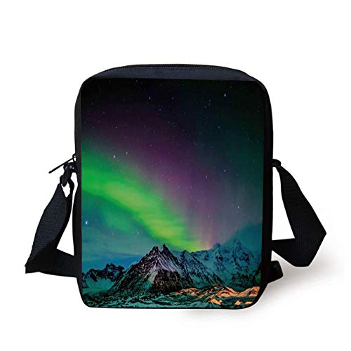 Aurora Borealis Kids Crossbody Messenger Bag Purse,Southern Iceland on Sky Over Rocky Hills Wild Night View,Cross Body Bags boys Girls 3D Printed Shoulder Bag,Lime Green Dark Blue Violet
