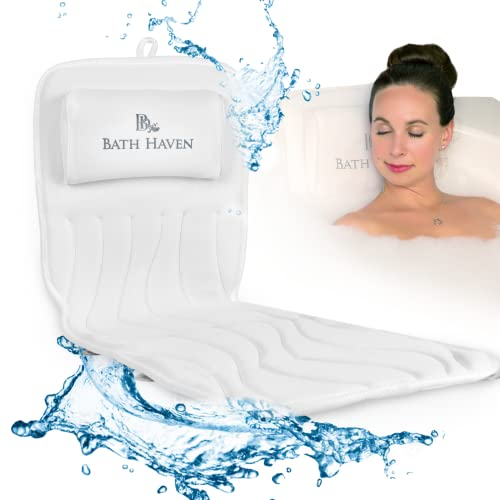 Bath Haven Bath Pillow for Women and Men - Luxury Headrest Cushion for Neck, Back & Head Support - Bathtub Accessories - Deluxe