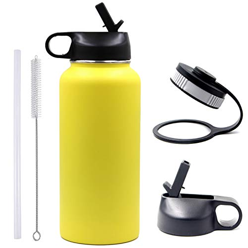 32 oz Water Bottle, BPA Free Metal Bottle with 2 Lids(Straw Lid+Flex Cap)18/8 Stainless Steel Tumbler Double Wall Vacuum Insulated Hot/Cold Sports Flask (32oz, Yellow)