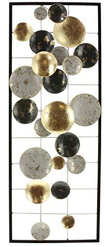 khevga Decorazione da parete 3D in metallo, con cerchi in metallo, 74 x 28 cm