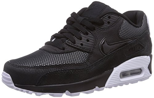 Nike Air Max 90 Premium, Damen Laufschuhe, Schwarz (Black/White/Metallic Silver 005), 36 EU (3 Damen UK)