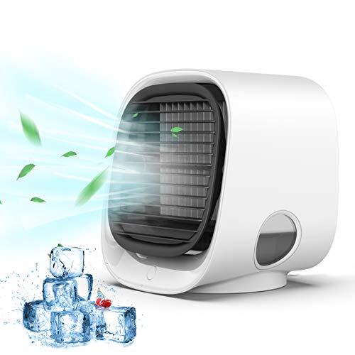 Air Acondicionado Portátil, Anweller Air cooler 4 en 1, Enfriador de Aire Móvil con Luz Nocturna, Ventilador con Tanque de Agua Grande de 300ml, Mini Humidificador para Hogar,Oficina, Camping,