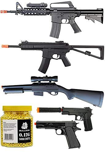 A&N Airsoft Spring Rifle, Shotgun & Pistol Bundle [2 Airsoft Rifles] 2 Airsoft Pistols [1 Airsoft Shotgun] 5000 Bulldog 0.12g BBS